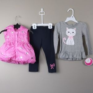 NWT- 3pc outfit-pink puffer vest, gray shirt, pant